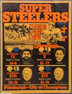 The good old days! Love me some Terry Bradshaw. Franco Harris & Lynn Swann & Mean Joe Green! Pittsburgh City, Pittsburgh Steelers Football, Pittsburgh Sports, Football Team, Football Posters, Here We Go Steelers, Steelers Stuff, Steelers Fans, Steeler Nation