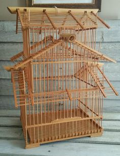 Vintage Bamboo Bird Cage, 3 Tier, Asian Bamboo Matchstick Pagoda Birdcage by EmptyNestVintage on Etsy