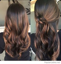 Dark brown and caramel balayage highlights