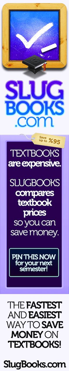 Compare College Textbooks | Used Textbooks | SlugBooks  I just barely went here, and it is awesome. I got 4 of my textbooks for $30 all together, when one was that much at the SUU bookstore. I'm doing a happy dance.