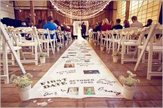 Very Cute Aisle Runner Idea for Wedding or Vow Renewal.  Can be used as entrance piece for other events too!