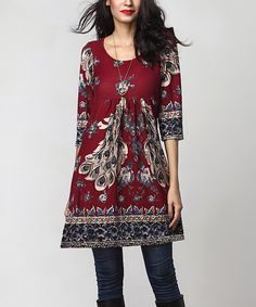 Look at this Burgundy Peacock Empire-Waist Tunic Dress on #zulily today!