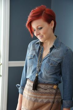 Thrift and Shout blog; fringe, thrift, thrift store, thrift shopping, thrifting, outfit, denim shirt, southwestern, vintage, Express skirt, tassel necklace, Forever 21, Etinenne Aigner, riding boots, fashion, style, short hair, red hair