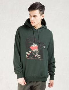 """UNDERCOVER Green """"Half Face"""" Graphic Hoodie"""