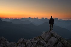 Self-portrait during the sunrise in the Dolomites near mount Pelmo and Civetta