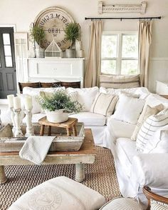 Looking for for images for farmhouse living room? Browse around this website for very best farmhouse living room pictures. This cool farmhouse living room ideas will look totally brilliant. French Country Living Room, Shabby Chic Living Room, French Cottage, Cream Living Room Decor, French Living Rooms, Living Room Decor Country, My French Country Home, American Country, Southern Living