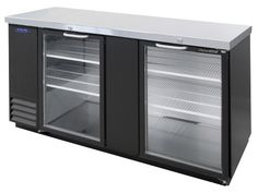 """AdvantEDGE 69"""" Wide 2 Glass Door Back Bar Refrigerator (NLBB69-G) - Adjustable temperature control - Black vinyl coated steel front, sides and back exterior - Epoxy coated flat shelves with clips - Fr"""