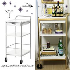 This Ikea Hack Bar Cart Is So Cute Love The Gold Spraypainted Hardware Living Room Pinterest Carts And