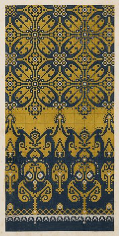 Carpet Design by M. Renssen, 1900 / Deventer Musea, CC BY-SA - Houses interior designs Cross Stitch Borders, Cross Stitch Flowers, Cross Stitch Designs, Cross Stitching, Cross Stitch Embroidery, Embroidery Patterns, Cross Stitch Patterns, Fair Isle Knitting Patterns, Knitting Charts