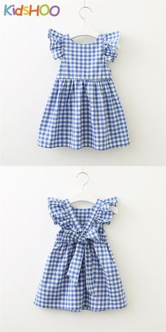 Ruffle Sleeves Backless Checkered Dress with Bow in Pink/Blue infant outfit,outfit for baby, Baby Frocks Designs, Kids Frocks Design, Kids Dress Wear, Little Girl Dresses, Baby Girl Frocks, Girls Frock Design, Baby Girl Dress Patterns, Kind Mode, Cute Dresses