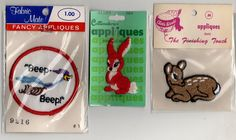 lot 3 Embroidered Patch beep beep and other animals vintage new old stock  #mixedlot