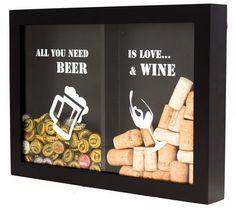 Quadro porta-tampinhas e rolhas - Wine & Beer (Coisas de Boteco - 149,00)