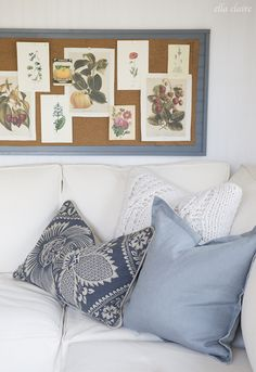Fill your she shed with dusty blues and grays for a comforting atmosphere that will make relaxing in your she shed so much more chic. Also add a cork board filled with botanical pictures to tie together the shed with the outside garden.
