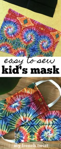 easy-to-sew kid's mask - My French Twist Wish You Luck, Easy Face Masks, Mask Making, Sewing For Kids, Mask For Kids, Cotton Fabric, Sewing Projects, French, Stitch