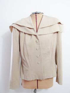 Vintage Jacket: Tan 1940s with Draped Shoulders by FairSails, $36.50 #vintageclothing #vintagestyle