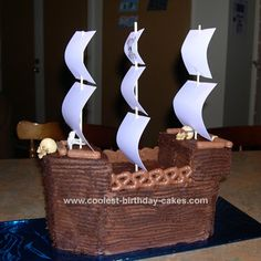 Pirate Ship Cake: I made this pirate ship cake for my son's 10th birthday in June 2008. The cake idea was based on the one in the Australian Womens Weekly Kids Party cakes
