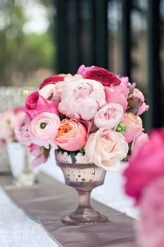 gorgeous pink ranunculus, peony, and rose
