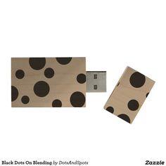Black Dots On Blending Wood USB 2.0 Flash Drive