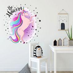 unicorn bedroom stickers mural animal cartoon decals stelute decorativ curcubeu autocolant rainbow sticker