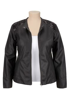 Sequin Shoulder Zip Front plus size Moto Jacket (original price, $69) available at #Maurices