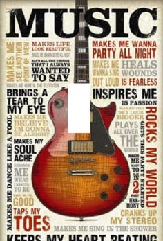 guitar music rock and roll home decor wall art by Stillwatersgifts