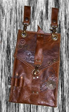 DW Custom Unisex Steampunk Brown Leather Hip Pouch- Belt Pouch- Mapcase  Bag Antique Brass Hardware ready to ship