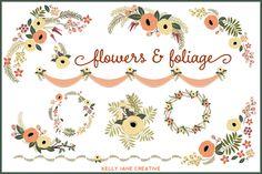 Autumn Flowers & Foliage Vector by Kelly Jane Creative on Creative Market