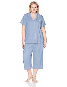 Karen Neuburger Womens Short Sleeve Cardigan Crop Pajama Set Pj Pajama Set