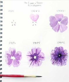 Ideas for watercolor art techniques brushes Watercolor Flowers Tutorial, Step By Step Watercolor, Watercolour Tutorials, Flower Tutorial, Simple Watercolor, Watercolor Trees, Tattoo Watercolor, Watercolor Landscape, Watercolor Animals