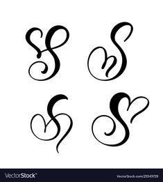 Set vintage floral letter monogram s vector image on VectorStock Tattoo Lettering Fonts, Hand Lettering Alphabet, Calligraphy Letters, Lettering Design, Letter S Tattoo, Monogram Tattoo, Alphabet Tattoo Designs, Alphabet Design, Letter S Designs