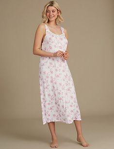 M/&s Nuisette Chemise de nuit coton femmes imprimé oiseaux lilas à manches courtes Nightwear