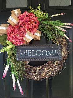 Items similar to Wreath -Gift -Shabby Chic Country Wreath - Welcome Wreath - Pink Hydrangea Wreath - Spring Wreath - Summer Wreath - Gift Ideas on Etsy Wreath Crafts, Diy Wreath, Diy Crafts, Tulle Wreath, Burlap Wreaths, Wreath Ideas, Grapevine Wreath, Diy Spring Wreath, Spring Crafts