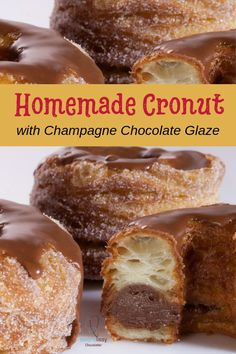 The Cronut™ – Serena Lissy Dominique Ansel-inspired homemade Cronut recipe with champagne chocolate ganache. Delicious flaky, buttery pastries you need to try. The whole process from scratch takes about 3 days. But, they're so worth it! Homemade Donuts, Homemade Breads, Donut Recipes, Pastry Recipes, Gourmet Recipes, Easy Desserts, Delicious Desserts, Dessert Recipes, Recipes