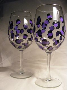 4585aeb15e9d Items similar to purple leopard print wine glasses can be personalized -  perfect for birthday