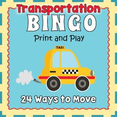Your kiddos are going to love looking for their favorite way of moving in this engaging transportation bingo game perfect for the whole class.  Everyone enjoys reviewing spelling and vocabulary when they are having fun playing a game.  Included are 24 different transportation calling cards and 30 unique bingo game boards.