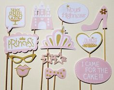 Pink and Gold Princess Party Photo Booth Props-12 Pieces Printed on Premium 80 lb Paper and Glued to 3/4 inch x 12 inch Wood Dowels. It's Twinkle Time offers unique and Fun Party Decor to transform an