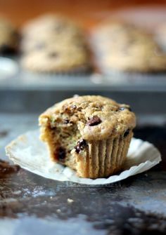 Skinny Zucchini Banana Chocolate Chip Muffins {healthy, low-fat} from @Monique Volz | Ambitious Kitchen