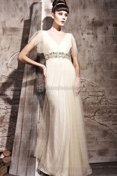 e27bff2c9d Chiffon V Neck Jewelled Long Prom Evening Wedding Dress
