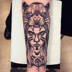 Girl with a tiger by Rique Corner! #riquecorner #oldschooltattoo #solidhearttattoo #traditional #girl #tiger #indian