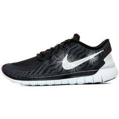 Blinged Women's Nike   5.0 Running Shoes Black White Customized With... ($150) ❤ liked on Polyvore featuring shoes, grey, sneakers & athletic shoes, tie sneakers, women's shoes, swarovski crystal shoes, white black shoes, white and black shoes, rhinestone shoes and gray shoes