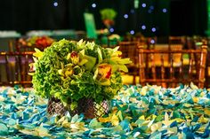 """Recording Academy's """"Grammy Celebration"""" After-Party: Flowers from CJ Matsumoto & Sons topped tables with varying linens meant to conjure various natural environments."""