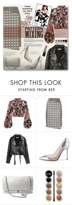 """""""Stay Bold: Pattern Mixing"""" by anitadz ❤ liked on Polyvore featuring Jill Stuart, Ted Baker, SKINN, Gianvito Rossi, Chanel, Giorgio Armani, Bobbi Brown Cosmetics and patternmixing"""