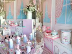 Lots of Greengate tableware for this vintage kitchen themed party