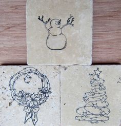 Christmas Inspired Travertine Marble Style Coasters by CircleOakTreasures on Etsy
