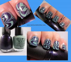 http://manicuredmonkey.blogspot.com/2011/10/purple-and-green-marble.html