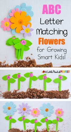 ABC Letter Matching Flowers Activity: Kids can have fun matching flowers and stems to make a garden. We matched uppercase and lowercase letters but you could always adapt this activity to learn numbers, spelling, and more. (spring, language, preschool)