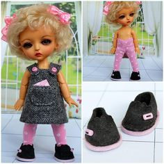 """OOAK outfit """"Gray & pink polka dots"""" with shoes for Lati Yellow, PukiFee by TashkasBears on Etsy"""