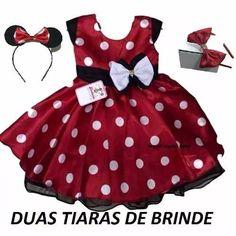 Vestido Infantil Festa Minnie Vermelho Com Tiara Minie - R$ 98,90 Baby Girl Dress Patterns, Little Dresses, Little Girl Dresses, Baby Dress, Girls Dresses, Tutu Outfits, Kids Outfits, Catwalk Design, Minnie Dress