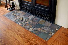 Slate hearth tile work