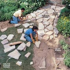 How to Build a Stone Path - Step by Step | The Family Handyman http://www.familyhandyman.com/garden-structures/garden-paths/how-to-build-a-stone-path/step-by-step?utm_content=buffera806f&utm_medium=social&utm_source=pinterest.com&utm_campaign=buffer www.renoback.com/?utm_content=buffer708e7&utm_medium=social&utm_source=pinterest.com&utm_campaign=buffer